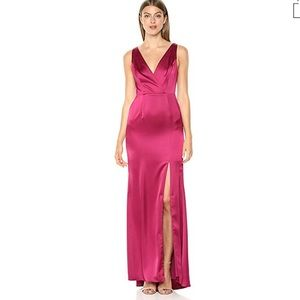 ADRIANNA PAPELL High Slit Light Satin Gown